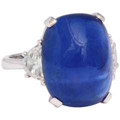 18.14 Carat Cabochon Certified Ceylon Sapphire and Diamond Ring