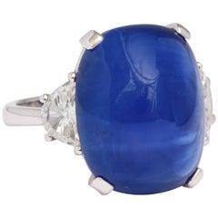 18.14 Carat Cabochon Sapphire Diamond Ring