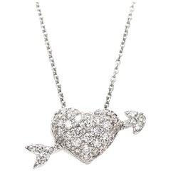 Roberto Coin White Gold and Diamond Arrow through Heart Pendant Necklace