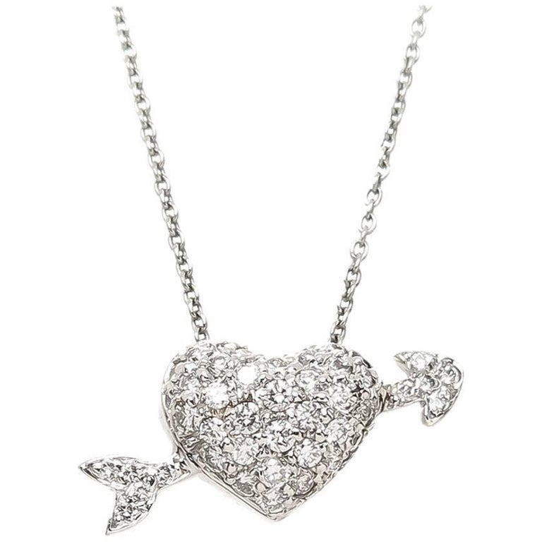 Roberto Coin White Gold And Diamond Arrow Through Heart