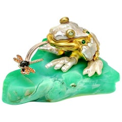 Opal Keshi Pearl Tsavorite Orange Sapphires Cats Eye Moonstone Frog Object D'Art