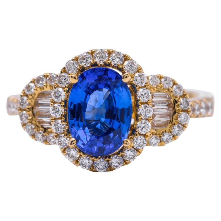 Oval Shape Ceylon Sapphire Diamond Yellow Gold Halo Cocktail Engagement Ring