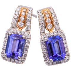 Tanzanite and Diamond Two-Tone Gold Drop Earrings