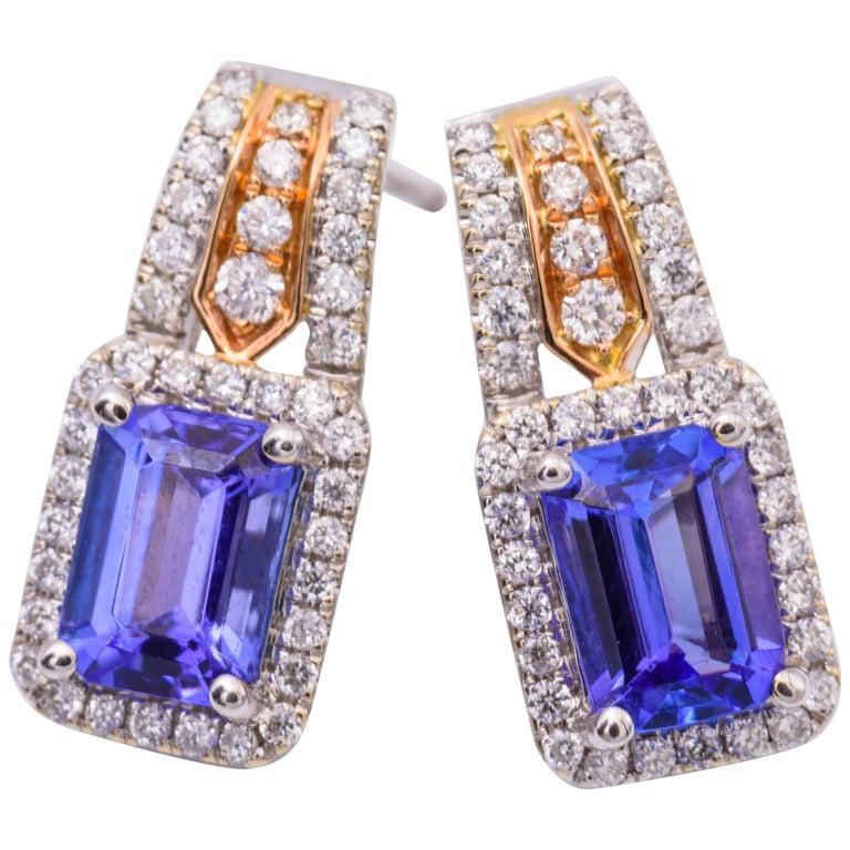 Tanzanite and Diamond Two-Tone Gold Drop Earrings