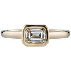 0.51carat Emerald Cut Diamond Yellow Gold  Ring