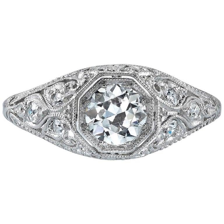 Vintage Platinum Old European Cut Diamond Engagement Ring