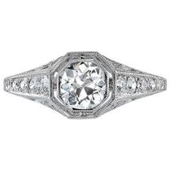 Platinum Old Mine Cut Diamond Engagement Ring