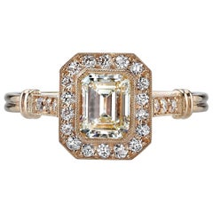 Rose Gold Emerald Cut Diamond Engagement Ring