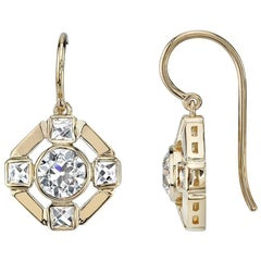 Old European and French Cut Diamond Earrings