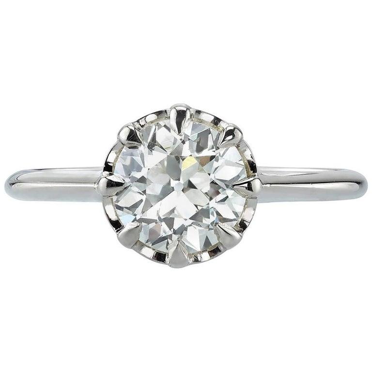 1.35 carat Old European Cut Diamond White Gold Engagement Ring