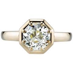 1.73 Carat Old European Cut Diamond Set in an Octagonal Yellow Gold Setting