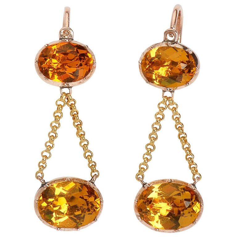 Georgian Fiery Citrine Paste Chandelier Earrings