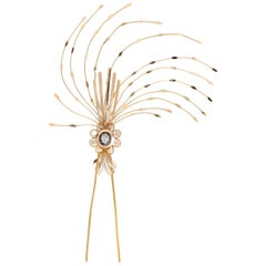 Antique Georgian Diamond Gold Hair Aigrette Ornament Barette