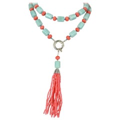 Decadent Jewels Amazonite Apricot Coral Sautier Tassel Silver Necklace
