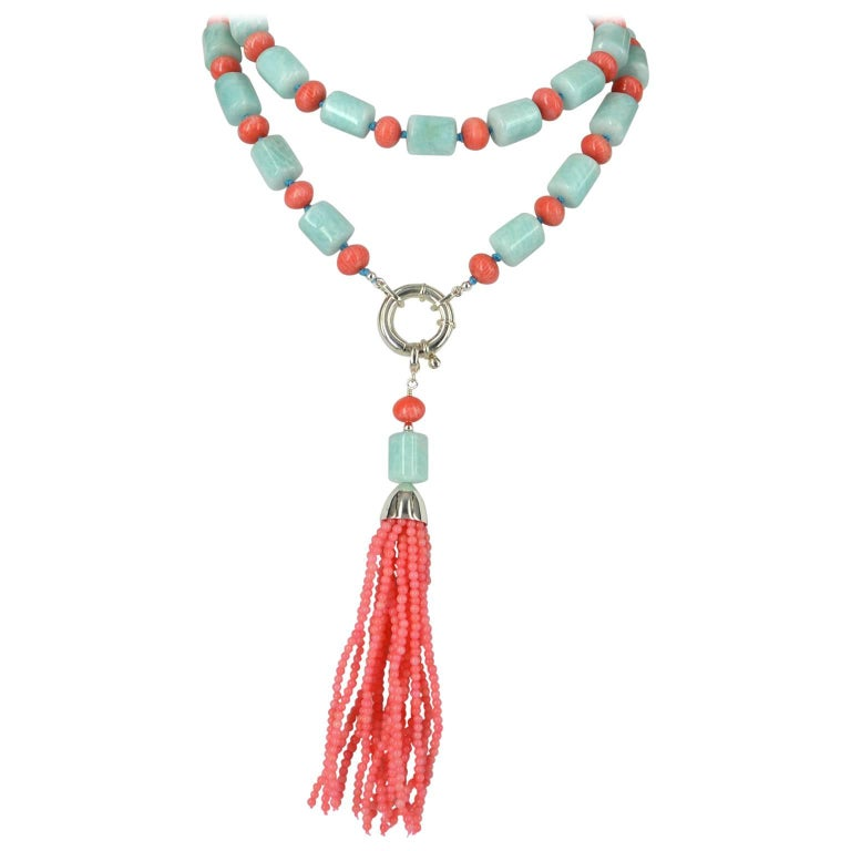 Decadent Jewels Amazonite Apricot Coral Sautier Tassel Silver Necklace For Sale