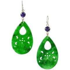 Decadent Jewels Carved Jade Amethyst Silver Earrings