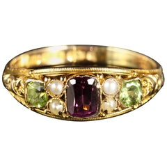 Victorian Suffragette Gold Ring Amethyst Pearl Peridot 15 Carat Dated 1883