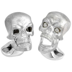 Deakin & Francis Sterling Silver Skull Cufflinks with Diamond Eyes