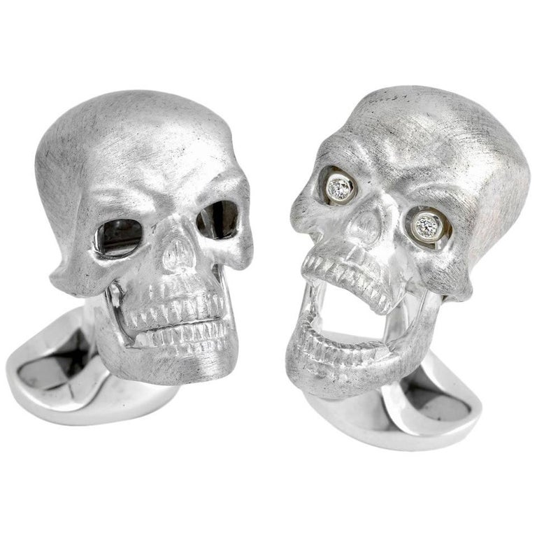 Deakin & Francis Sterling Silver Skull Cufflinks with Diamond Eyes 1