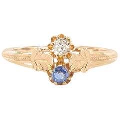 """1850s Rose Gold Sapphire Diamond """"Toi et Moi"""" Engagement Ring"""