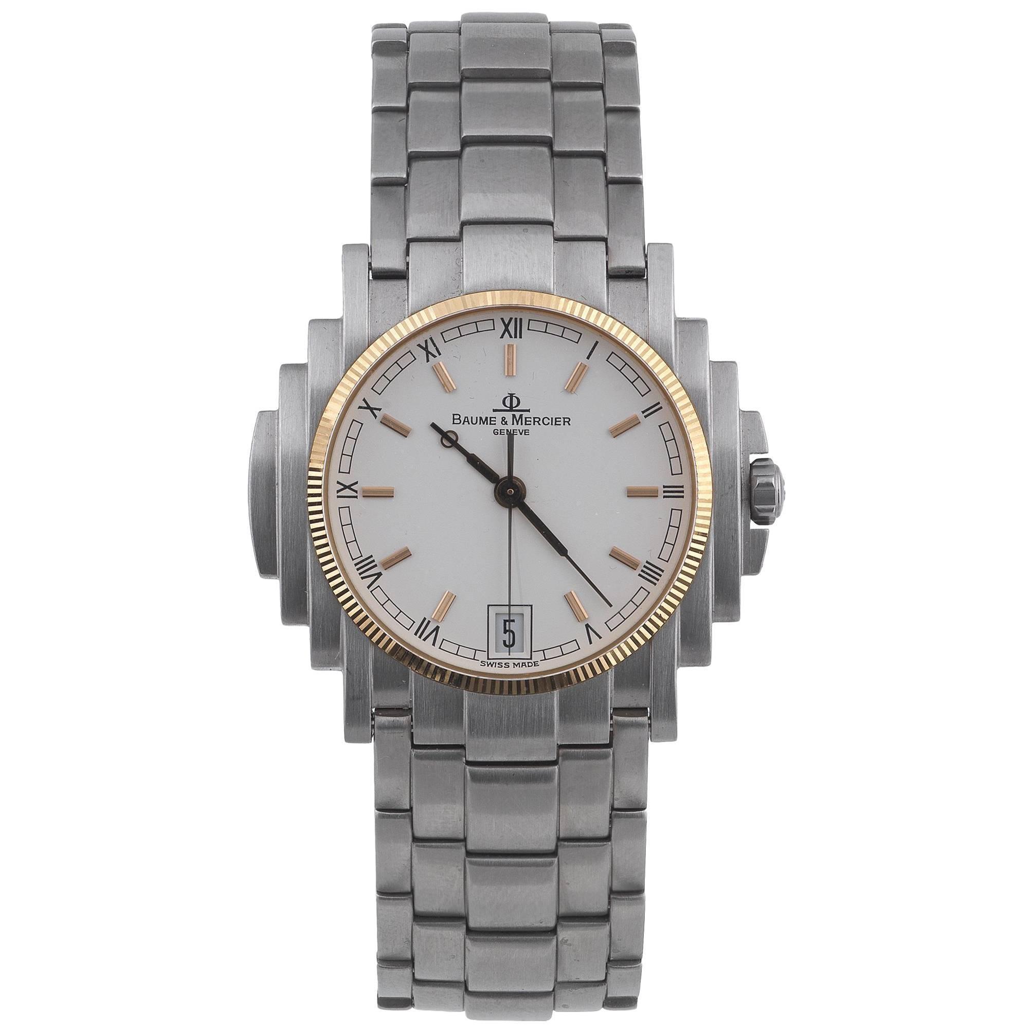 Baume & Mercier Stainless Steel Gold Bezel Capeland Quartz Wristwatch