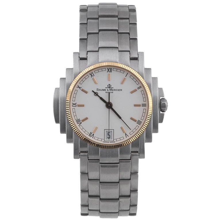 Baume & Mercier Stainless Steel Gold Bezel Capeland Quartz Wristwatch   For Sale