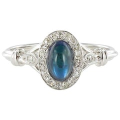 French 1930s White Gold Diamond Sapphire Ring