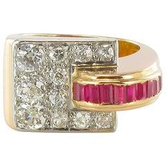 French 1940s Retro Tank Gold Diamond Ring