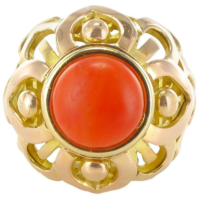 French Vintage 1980s Mediterranean Coral Gold Dome Ring