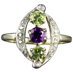 Antique Suffragette Victorian Ring Amethyst Peridot and Diamond