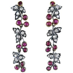 Pair of Antique Ruby and Diamond Vine Earrings