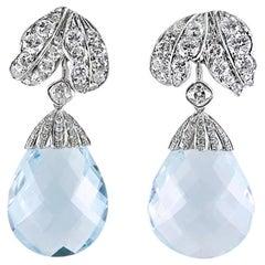 Pair of Briolette Aquamarine and Diamond Earrings