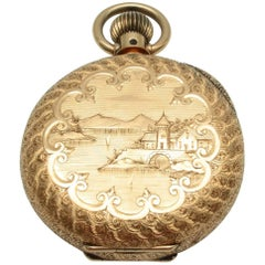 Elgin Yellow Gold Chinoiserie Pocket Watch