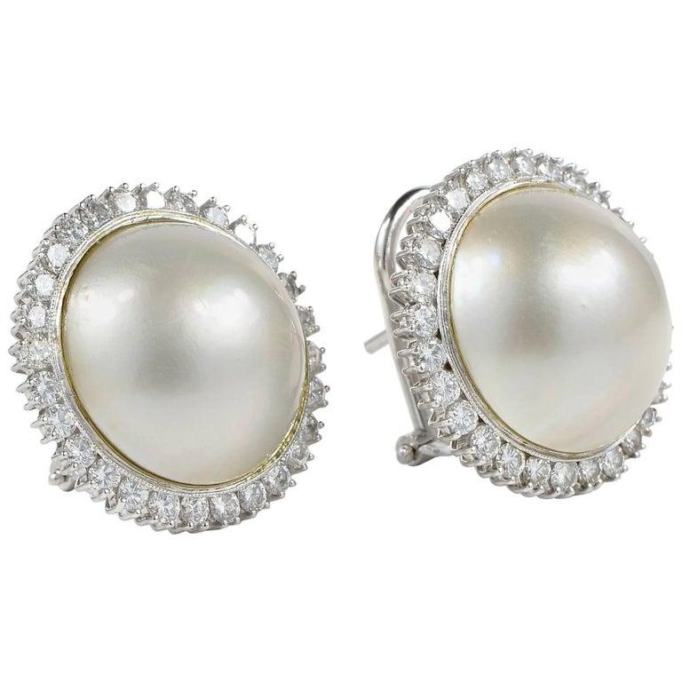 Jumbo Mabe Pearl Diamond Halo Vintage Earrings