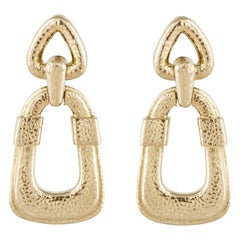 David Webb 18 Karat Door Knocker Earrings