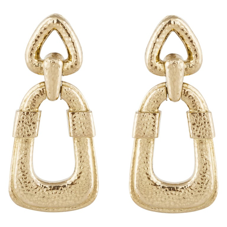 David Webb 18 Karat Door Knocker Earrings For