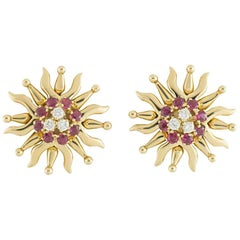 Tiffany & Co. Ruby and Diamond Sunburst Earrings