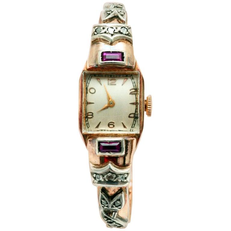 Ladies Yellow Gold Diamond Ruby Manual Wristwatch