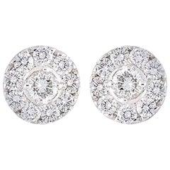David Morris Diamond Cluster Earrings 1.14 Carat
