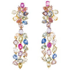David Webb Sapphire Cluster Drop Earrings