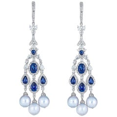 Blue Sapphire White Diamond Pearl Chandelier Earring