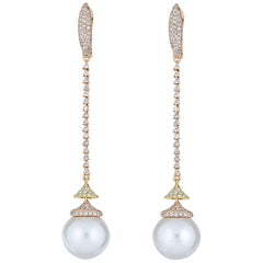 Diamond South Sea Pearl Drop Earring