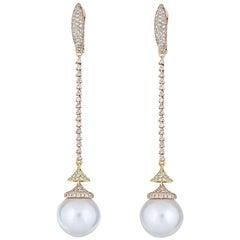 Diamond South Sea Pearl Drop Earring