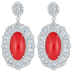 Coral and White Diamond Drop Earring