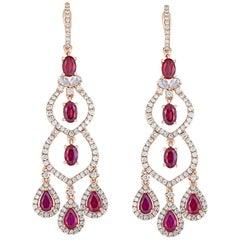 Ruby Diamond Chandelier Earring