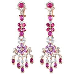 Ruby Pink Sapphire Diamond Chandelier Earring