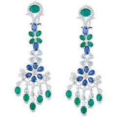 Emerald Blue Sapphire and Diamond Chandelier Earring