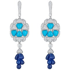Turquoise Diamond Blue Sapphire Dangle Earring