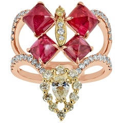 Red Spinel Yellow and White Diamond Ring