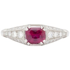 GIA Natural Unheated Ruby in Custom French Platinum Diamond Mounting
